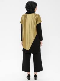 Black - Gold - Round Collar - Crew neck - Tunic