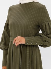 Khaki - Stripe - Crew neck - Unlined - Dress