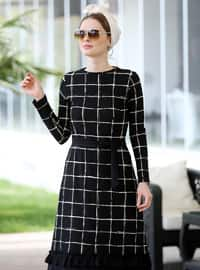 Black - Stripe - Crew neck - Unlined - Dress