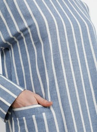 Blue - Navy Blue - Indigo - Stripe - Hac ve Umre - Crew neck - Unlined - Cotton - Linen - Dress