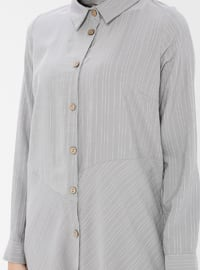 Gray - Stripe - Point Collar - Tunic
