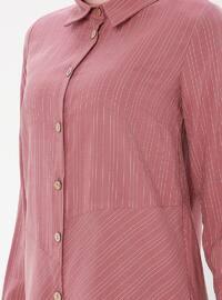 Dusty Rose - Stripe - Point Collar - Tunic