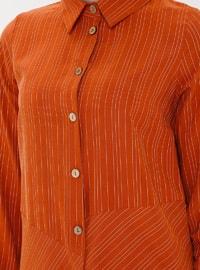Terra Cotta - Stripe - Point Collar - Tunic