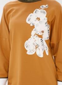 Tan - Crew neck - Cotton - Tunic