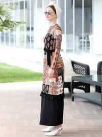 Çok renkli - Çok renkli - Yuvarlak yakalı - Astarsız kumaş - Elbise