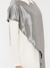 Silver tone - Cream - Round Collar - Crew neck - Tunic