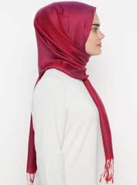 Maroon - Plain - Silk Blend - Cotton - Shawl