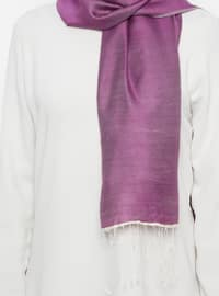 Purple - Plain - Silk Blend - Cotton - Shawl