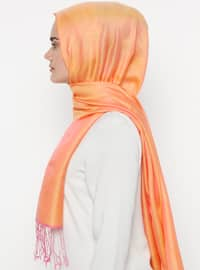 Orange - Plain - Silk Blend - Cotton - Shawl
