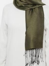 Green - Plain - Silk Blend - Cotton - Shawl