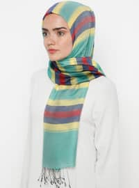 Multi - Striped - Silk Blend - Cotton - Shawl