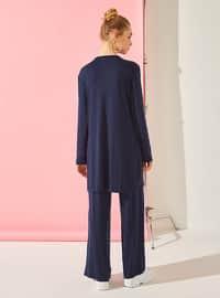 Navy Blue - Unlined - Cotton - Suit
