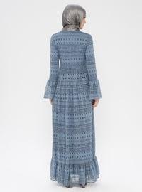 Blue - Indigo - Crew neck - Fully Lined - Dress