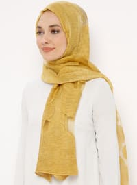 Yellow - Plain - Acrylic - Shawl