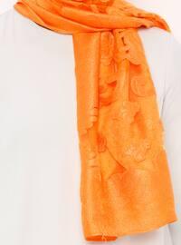 Orange - Plain - Acrylic - Shawl