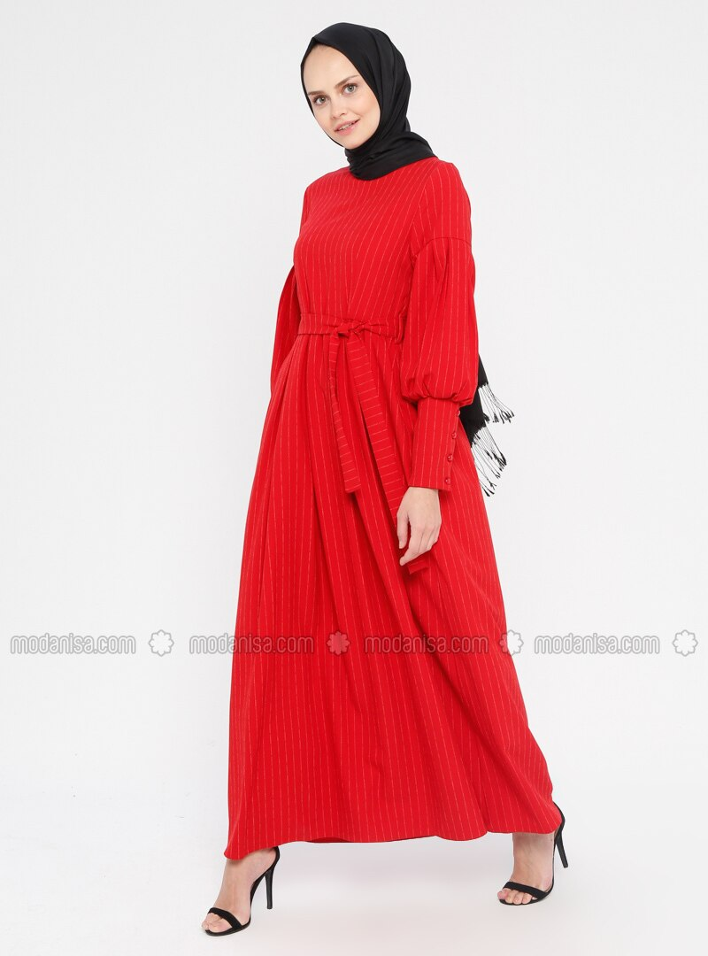 Red - Stripe - Crew neck - Unlined - Dress