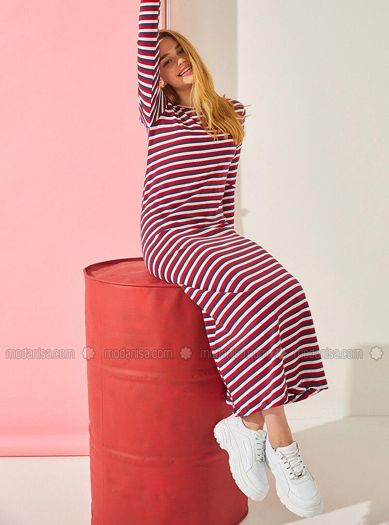size 40 671f7 d1c14 Rot - Weiß - Gestreift - Rundhalsausschnitt - Ohne Innenfutter - Baumwolle  - Hijab Kleid