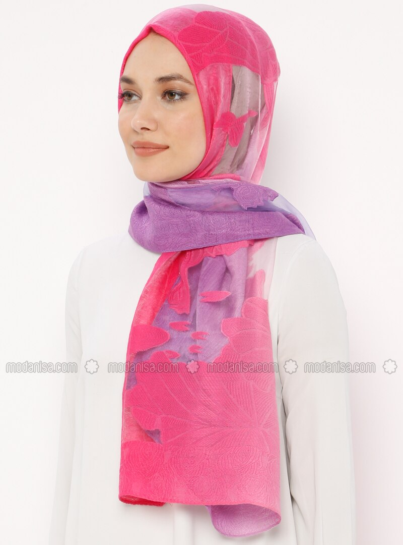 Pink - Fuchsia - Plain - Acrylic - Shawl