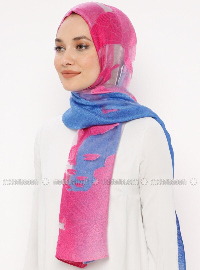 Pink - Saxe - Fuchsia - Plain - Acrylic - Shawl