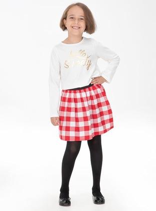 Plaid - Crew neck - Cotton - Red - White - Girls` Suit