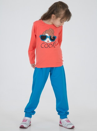 Crew neck - Cotton - Unlined - Blue - Orange - Turquoise - Girls` Suit