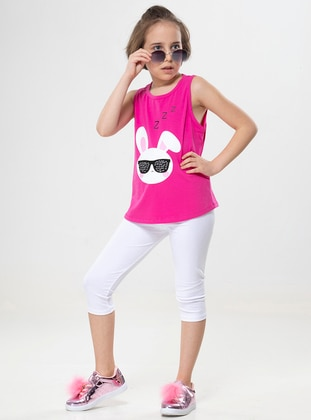 Crew neck - Cotton - Unlined - White - Pink - Ecru - Girls` Suit