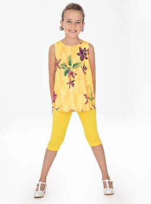 Floral - Crew neck - Cotton - Unlined - Yellow - Orange - Girls` Suit
