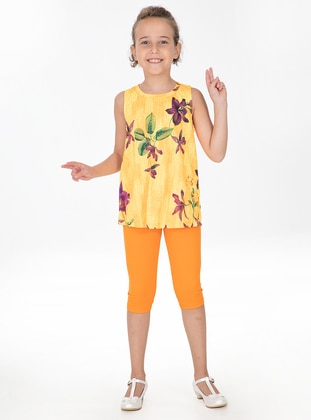 Multi - Crew neck - Cotton - Unlined - Orange - Girls` Suit