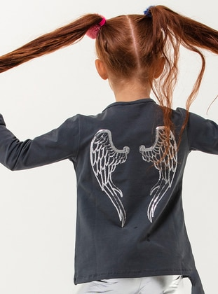 Crew neck - Cotton - Unlined - Gray - Girls` T-Shirt