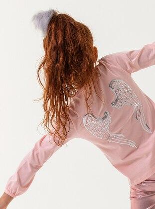 Crew neck - Cotton - Unlined - Pink - Girls` T-Shirt