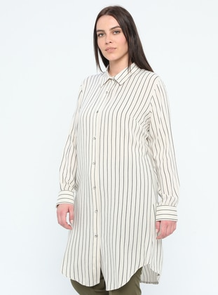 Ecru - Stripe - Point Collar - Viscose - Plus Size Tunic