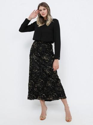 Black - Plus Size Evening Skirt
