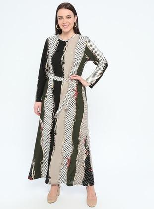 e90b1027360 Kaki - Multicolore - Tissu non doublé - Col rond - Robe grande taille