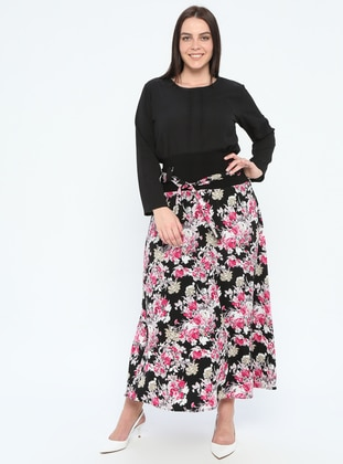 Dusty Rose - Multi - Fully Lined - Plus Size Skirt