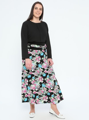Green - Turquoise - Multi - Fully Lined - Plus Size Skirt