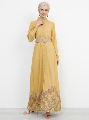 Yellow - Multi - Point Collar - Unlined - Viscose - Dress