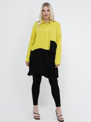Black - Yellow - Point Collar - Viscose - Plus Size Tunic