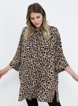 Leopard - Leopard - Point Collar - Viscose - Plus Size Tunic
