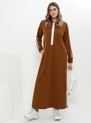 Tan - Unlined - Cotton - Plus Size Dress