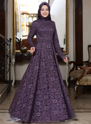 Purple - Plum - Unlined - Crew neck - Muslim Evening Dress
