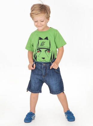 Cotton - Denim - Unlined - Navy Blue - Indigo - Boys` Shorts