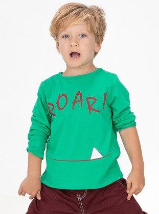 Crew neck - Cotton - Unlined - Green - Boys` Sweatshirt