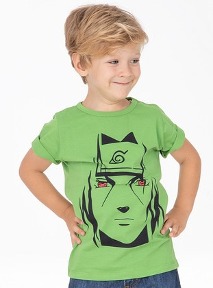 Multi - Crew neck - Cotton - Unlined - Green - Boys` T-Shirt