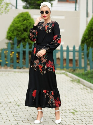 Black - Brown - Floral - Crew neck - Unlined - Dress
