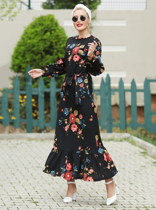 Black - Coral - Floral - Crew neck - Unlined - Dress
