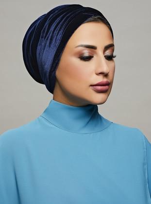 Navy Blue - Plain - Instant Scarf - Roza