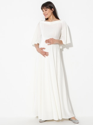 White - Ecru - Boat neck - Unlined - Maternity Dress - Moda Labio