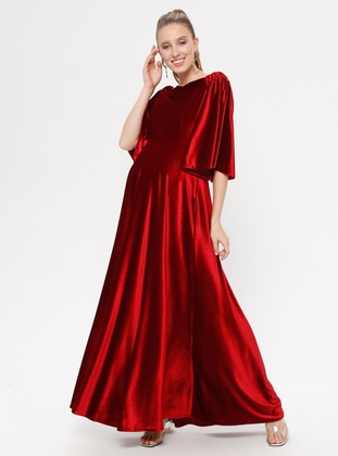 Red - Boat neck - Unlined - Maternity Dress