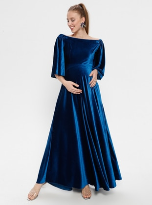 Petrol - Petrol - Boat neck - Unlined - Maternity Dress - Moda Labio