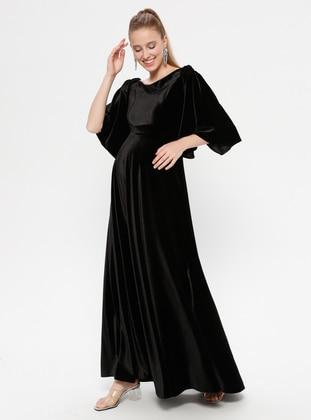 Black - Black - Boat neck - Unlined - Maternity Dress